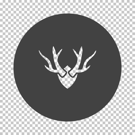 Deer's antlers  icon. Subtract stencil design on tranparency grid. Vector illustration. Stock Illustratie