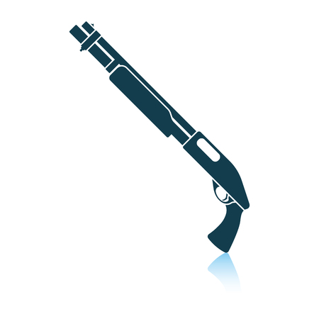 Pump-action shotgun icon. Shadow reflection design. Vector illustration.