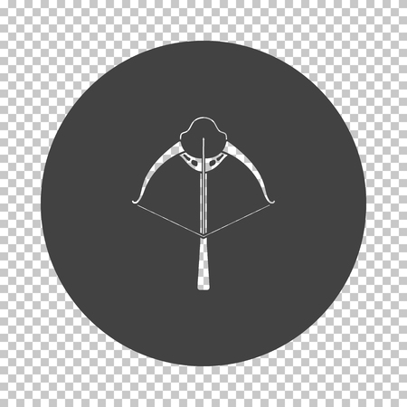 Crossbow icon. Subtract stencil design on tranparency grid. Vector illustration. Çizim