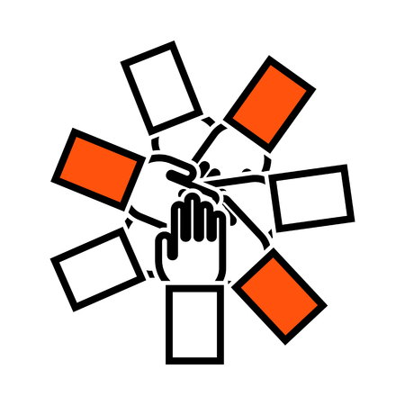 Unity And Teamwork Icon. Thin Line With Orange Fill Design. Vector Illustration.