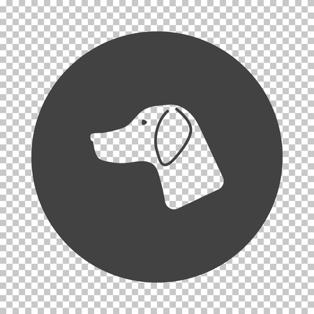 Hunting dog had  icon. Subtract stencil design on tranparency grid. Vector illustration.