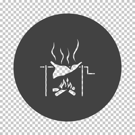 Roasting meat on fire icon. Subtract stencil design on tranparency grid. Vector illustration.