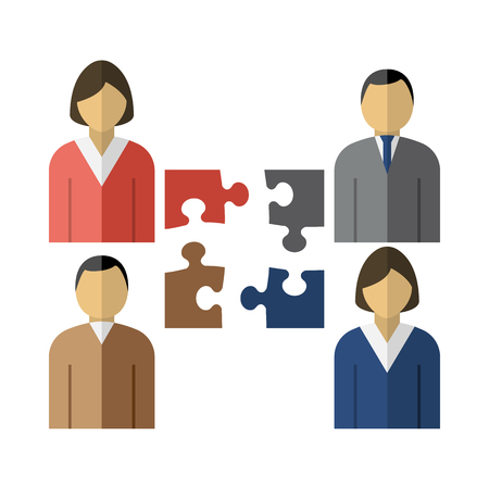 Corporate Team Icon. Four Corporate Employee With Puzzles Element Near. Flat Color Design. Vector Illustration. Ilustrace