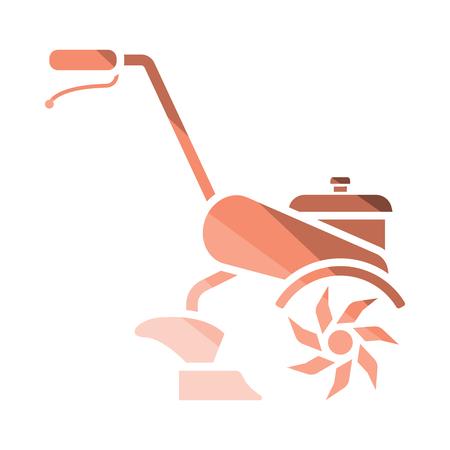 Garden tiller icon. Flat color design. Vector illustration. Vectores