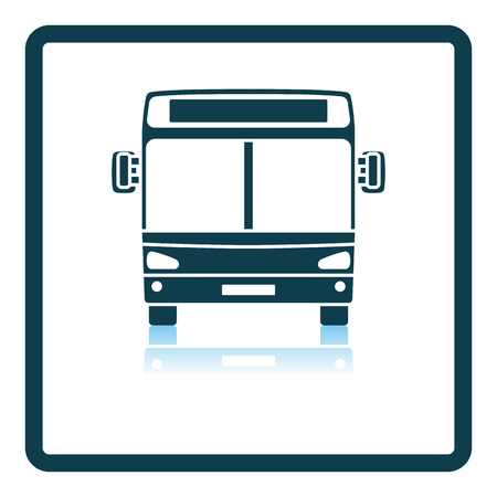 City bus icon front view. Square Shadow Reflection Design. Vector Illustration.