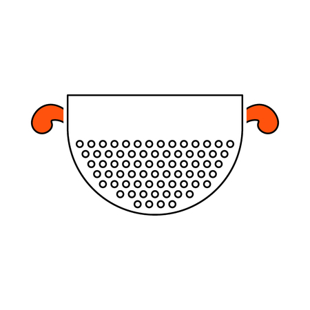 Kitchen Colander Icon. Thin Line With Orange Fill Design. Vector Illustration.