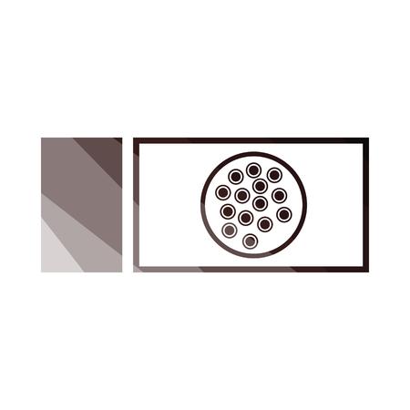 Bacterium glass icon. Flat color design. Vector illustration.