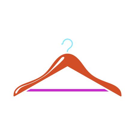 Cloth Hanger Icon. Flat Color Design. Vector Illustration.