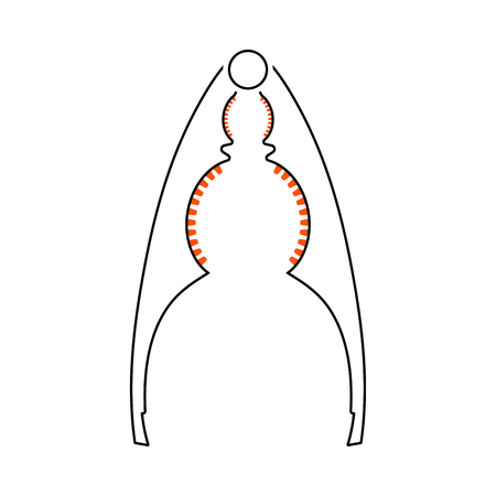 Nutcracker Pliers Icon. Thin Line With Orange Fill Design. Vector Illustration. Illustration