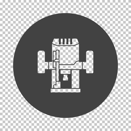 Plunger milling cutter icon. Subtract stencil design on tranparency grid. Vector illustration. Çizim