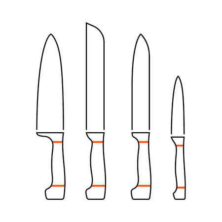 Kitchen Knife Set Icon. Thin Line With Orange Fill Design. Vector Illustration. 向量圖像
