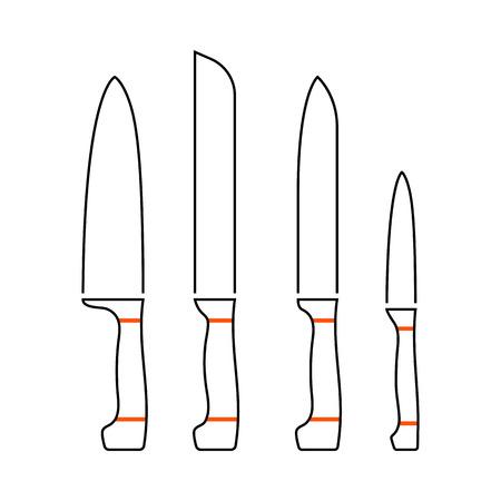 Kitchen Knife Set Icon. Thin Line With Orange Fill Design. Vector Illustration. Illustration