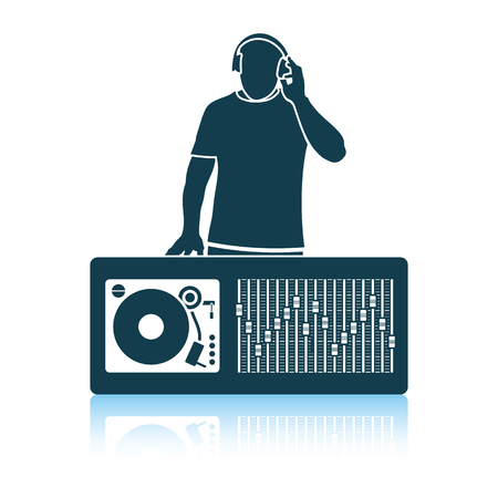 DJ icon. Shadow reflection design. Vector illustration.