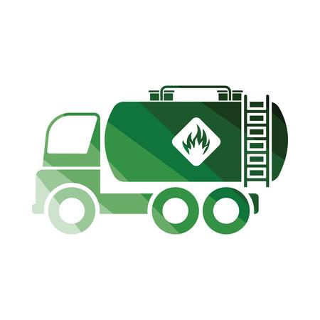 Oil truck icon. Flat color design. Vector illustration. Illustration