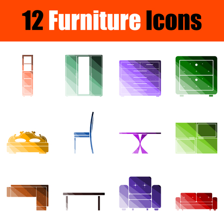 Furniture Icon Set. Flat Color Ladder Design. Vector Illustration. Vectores