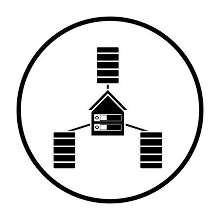 Datacenter Icon. Thin Circle Stencil Design. Vector Illustration. Ilustrace