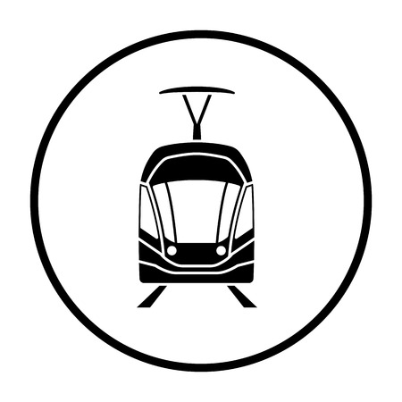Tram icon front view. Thin Circle Stencil Design. Vector Illustration.