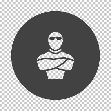 Night club security icon. Subtract stencil design on tranparency grid. Vector illustration. Stock Illustratie