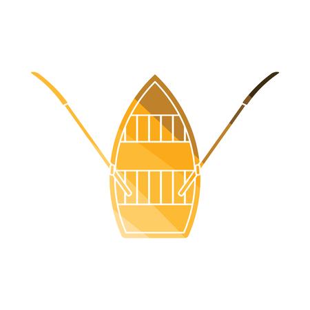 Paddelboot-Symbol. Flaches Farbdesign. Vektor-Illustration.