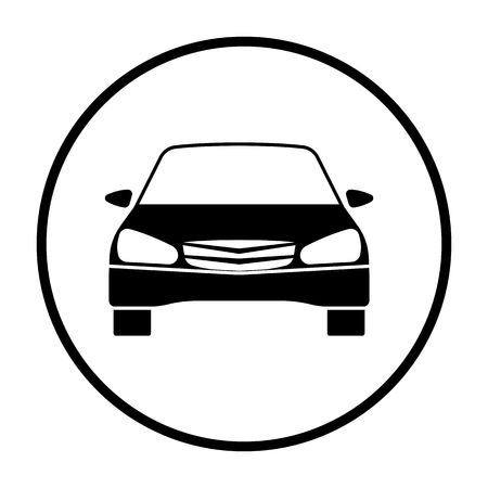Sedan car icon front view. Thin Circle Stencil Design. Vector Illustration. 向量圖像