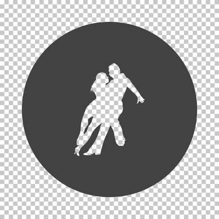 Dancing pair icon. Subtract stencil design on tranparency grid. Vector illustration. Stock Illustratie