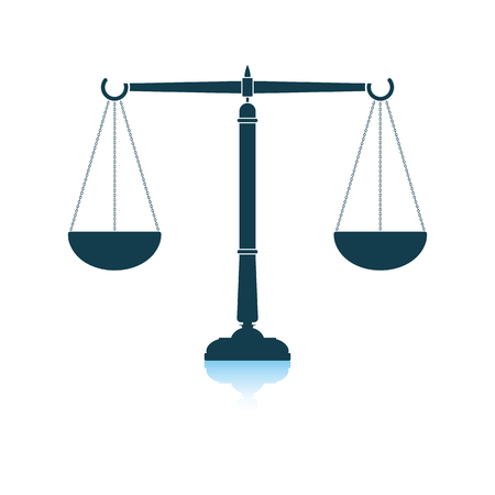 Justice scale icon. Shadow reflection design. Vector illustration. Ilustrace