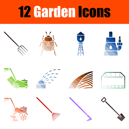 Set of Gardening Icons. Color Ladder Design. Vector Illustration.