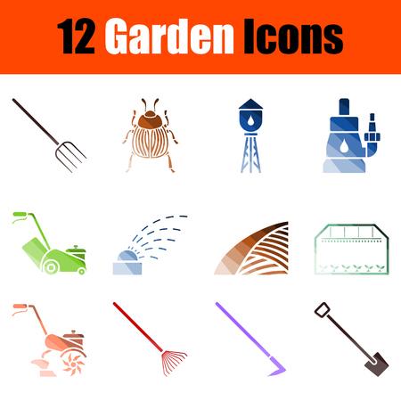 Set of Gardening Icons. Color Ladder Design. Vector Illustration.