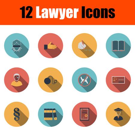 Lawyer Icon Set. Flat Design With Long Shadow. Vector illustration. Ilustração