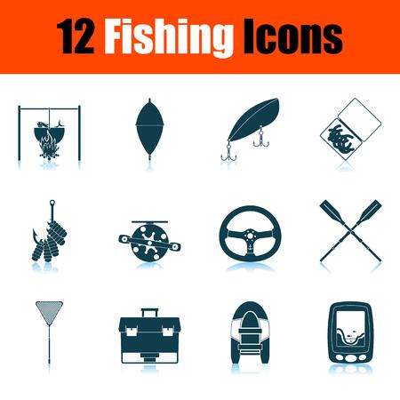 Fishing Icon Set. Shadow Reflection Design. Vector Illustration. Vecteurs
