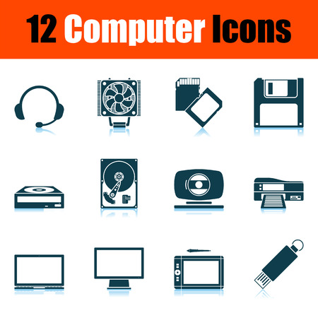 Computer-Icon-Set. Schattenreflexion-Design. Vektor-Illustration.