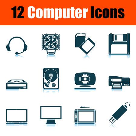 Computer Icon Set. Shadow Reflection Design. Vector Illustration.