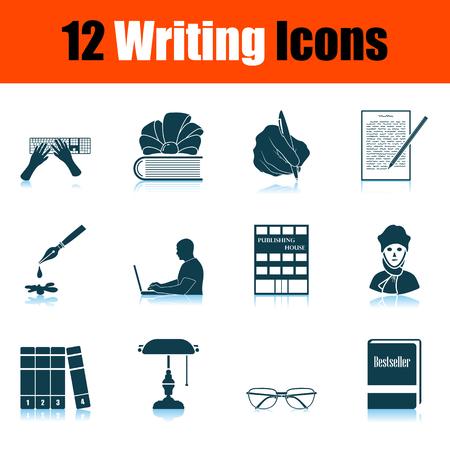 Writing Icon Set. Shadow Reflection Design. Vector Illustration. 向量圖像