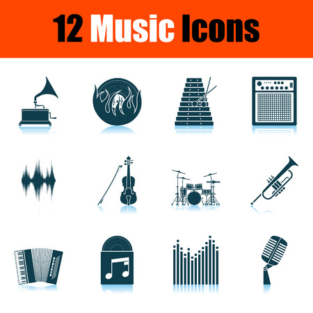 Set of Music Icons. Shadow Reflection Design. Vector Illustration.