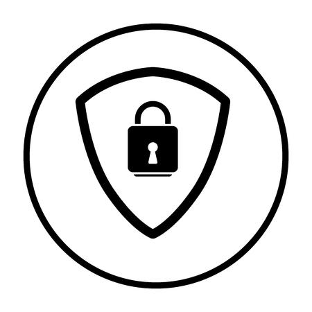 Data Security Icon. Thin Circle Stencil Design. Vector Illustration. Illustration