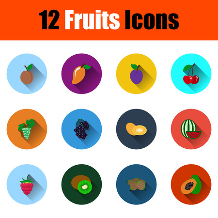 Set Of Fruits Icons. Full Color Flat Design With Long Shadow. Vector illustration.