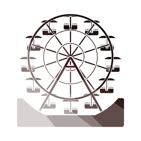 Ferris wheel icon. Flat color design. Vector illustration.