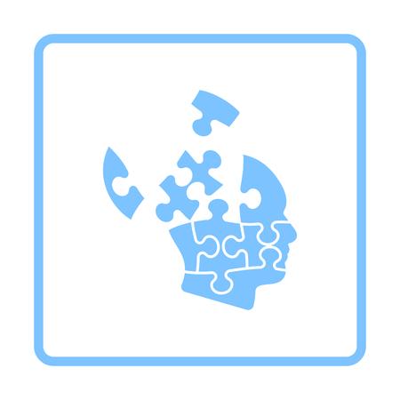 Solution Icon. Blue Frame Design. Vector Illustration.