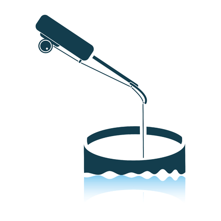 Icon of Fishing winter tackle . Shadow reflection design. Vector illustration.
