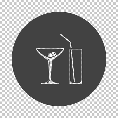 Coctail glasses icon. Subtract stencil design on tranparency grid. Vector illustration.