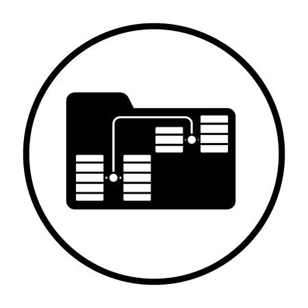 Folder Network Icon. Thin Circle Stencil Design. Vector Illustration.