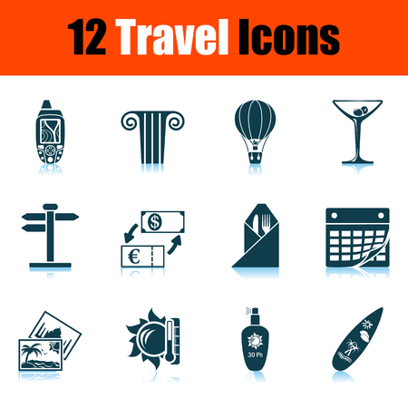 Travel Icon Set. Shadow reflection design. Vector illustration. 矢量图像