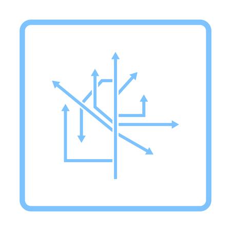 Direction Arrows Icon. Blue Frame Design. Vector Illustration.