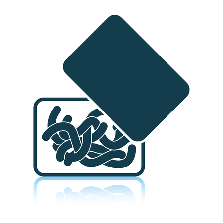 Icon of worm container. Shadow reflection design. Vector illustration. 일러스트