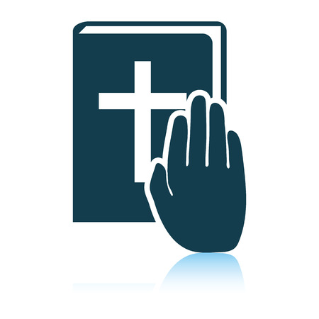Hand on Bible icon. Shadow reflection design. Vector illustration.  イラスト・ベクター素材