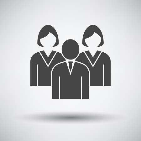 Corporate Team Icon on gray background, round shadow. Vector illustration.