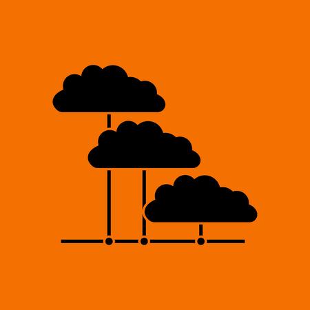 Cloud Network Icon. Black on Orange background. Vector illustration. Ilustração