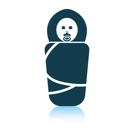 Wrapped infant icon. Shadow reflection design. Vector illustration.