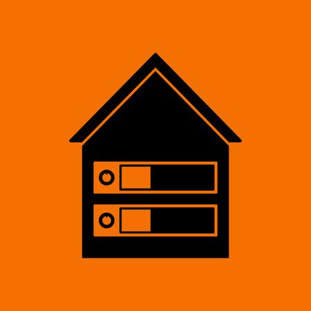 Datacenter Icon. Black on Orange background. Vector illustration.