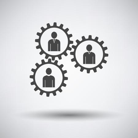 Teamwork Icon on gray background, round shadow. Vector illustration.